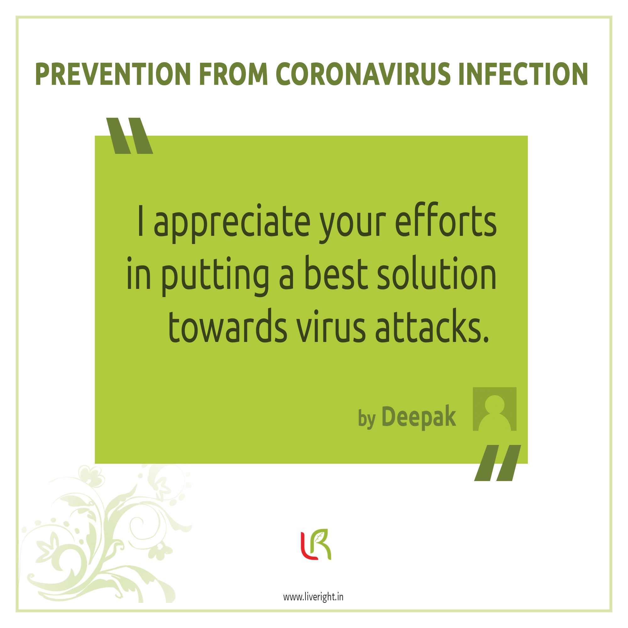 Prevention from coronavirus infection.